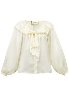 Gucci Ruffled silk-blend satin blouse