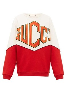 Gucci Satin logo-appliqué cotton sweatshirt