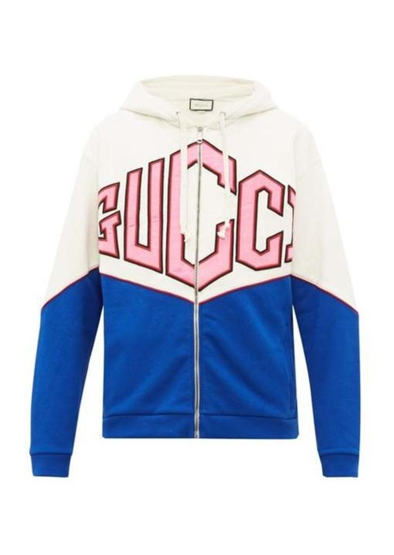 Gucci Satin-logo zip-through cotton hooded sweatshirt
