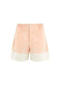 Gucci Scalloped cotton-poplin shorts