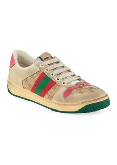 Gucci Screener Distressed Low-Top Sneakers
