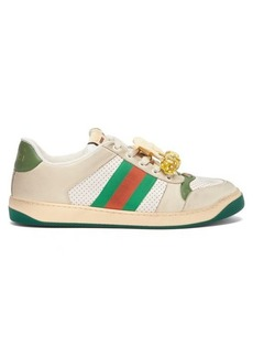 Gucci Screener GG cherry-embellished leather trainers