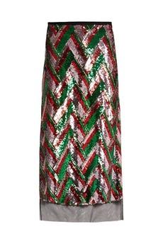Gucci Sequin-embellished chevron midi skirt