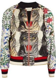 Gucci Sequin-embellished printed silk-twill bomber jacket