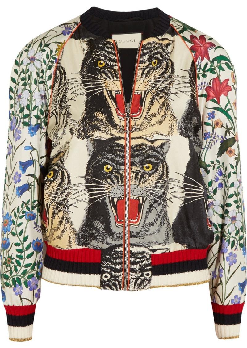8aec63661 Gucci Appliquéd Printed Silk-twill Bomber Jacket   Outerwear
