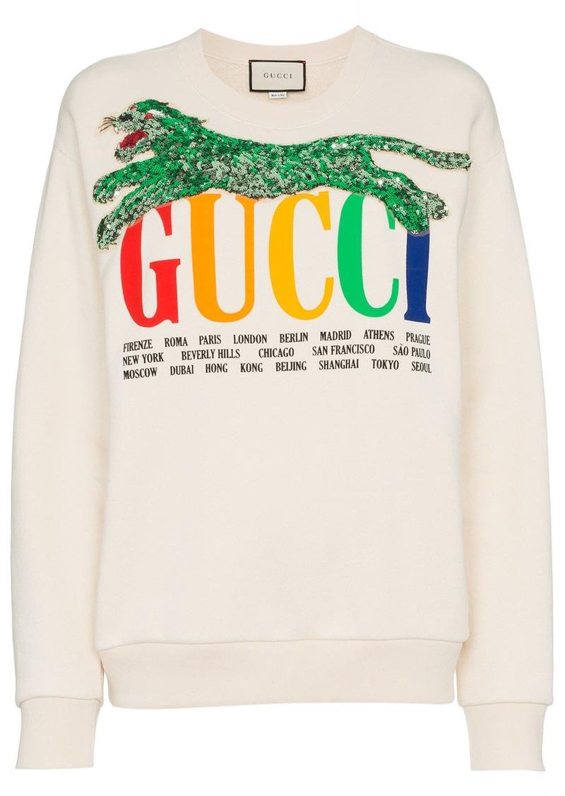 b0980a2542fd Gucci Gucci sequin panther logo print cotton sweatshirt - White ...
