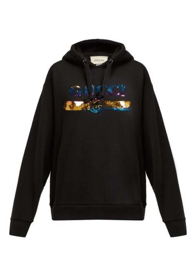 Gucci Sequinned-logo hooded cotton sweatshirt