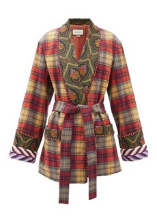 Gucci Shawl-lapel checked wool-blend wrap jacket