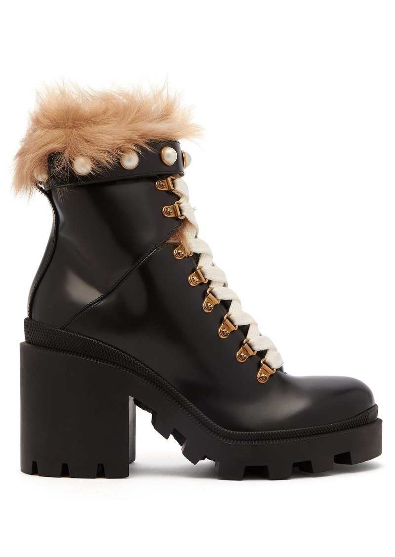 c6b91628 Shearling-trimmed leather ankle boots