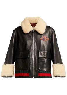 Gucci Shearling-trimmed leather jacket