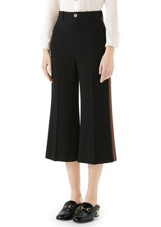 Gucci Side Stripe Cady Wide Leg Crop Pants