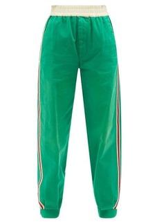 Gucci Side-stripe cotton-drill track pants