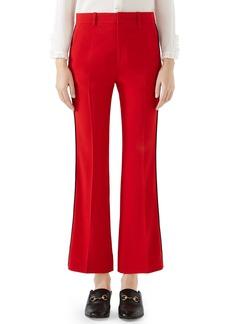 Gucci Side Stripe Stretch Cady Crop Flare Pants
