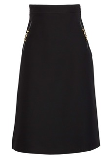 Gucci Silk & Wool Cady Crepe A-Line Skirt
