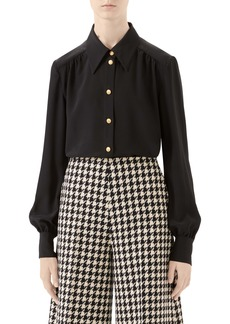 Gucci Silk Crêpe de Chine Blouse with Removable Tie