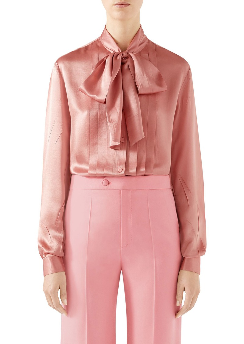 Gucci Silk Satin Bow Blouse