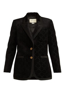 Gucci Single-breasted logo-jacquard blazer