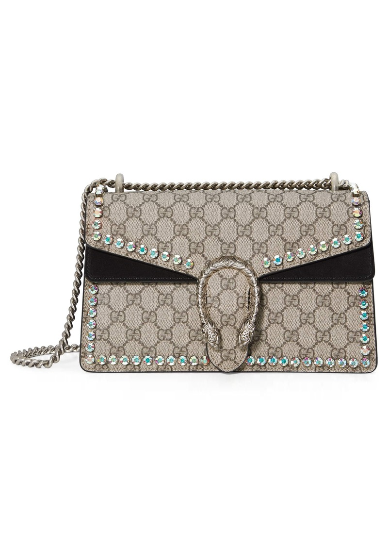 e77903cac8e Gucci Small Dionysus Crystal Embellished GG Supreme Canvas   Suede Shoulder  Bag