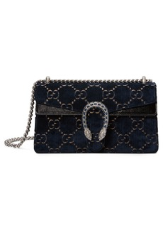 Gucci Small Embroidered GG Velvet Shoulder Bag