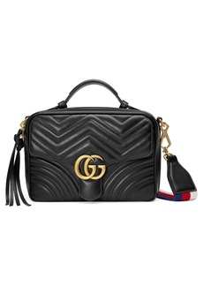 Gucci Small GG Marmont 2.0 Matelassé Leather Camera Bag with Webbed Strap