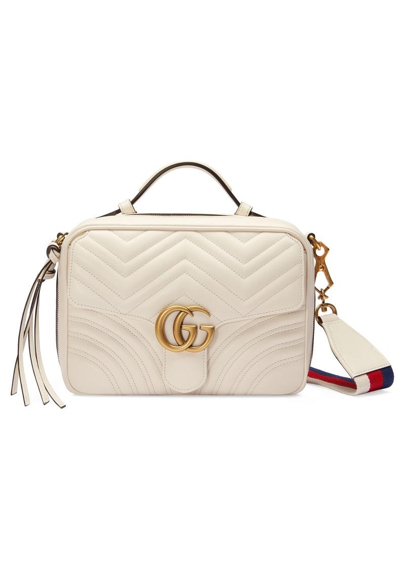 617a9548bd3c Gucci Small GG Marmont 2.0 Matelassé Leather Camera Bag with Webbed Strap