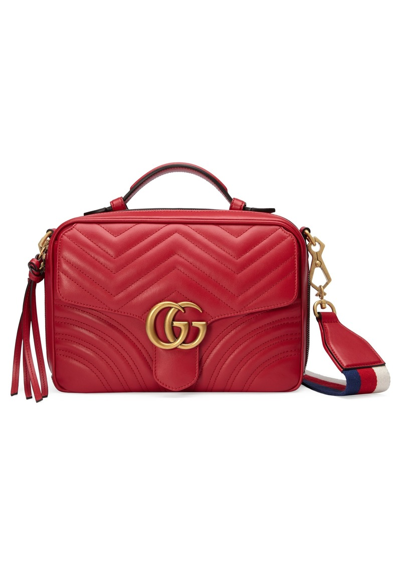 Gucci Small GG Marmont 2.0 Matelassé Leather Camera Bag with Webbed Strap 7de04fe3afd05