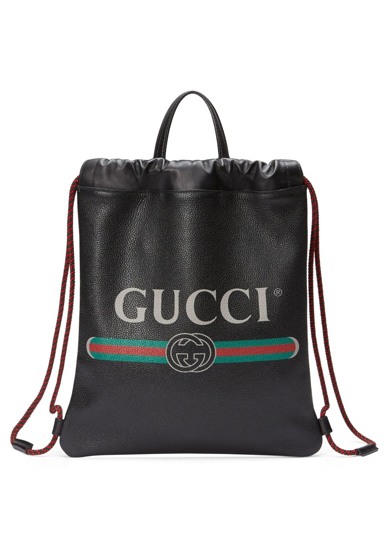 5e975665cb7e Gucci Gucci Small Logo Leather Drawstring Backpack