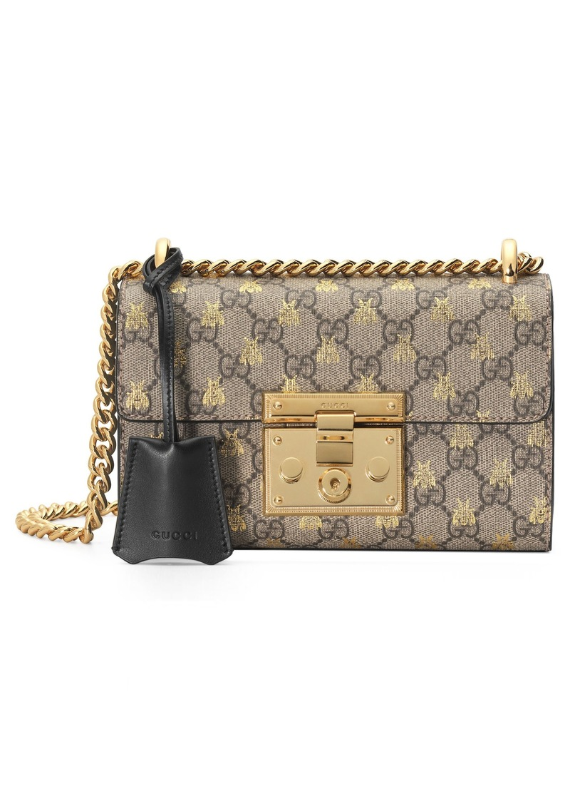 14b22a24674fc2 Gucci Gucci Small Padlock GG Supreme Bee Shoulder Bag | Handbags