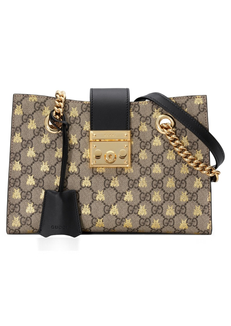 1dd1659b2eff Gucci Gucci Small Padlock GG Supreme Bee Shoulder Bag