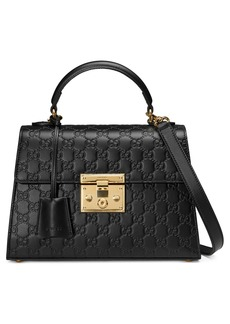 Gucci Small Padlock Top Handle Signature Leather Bag