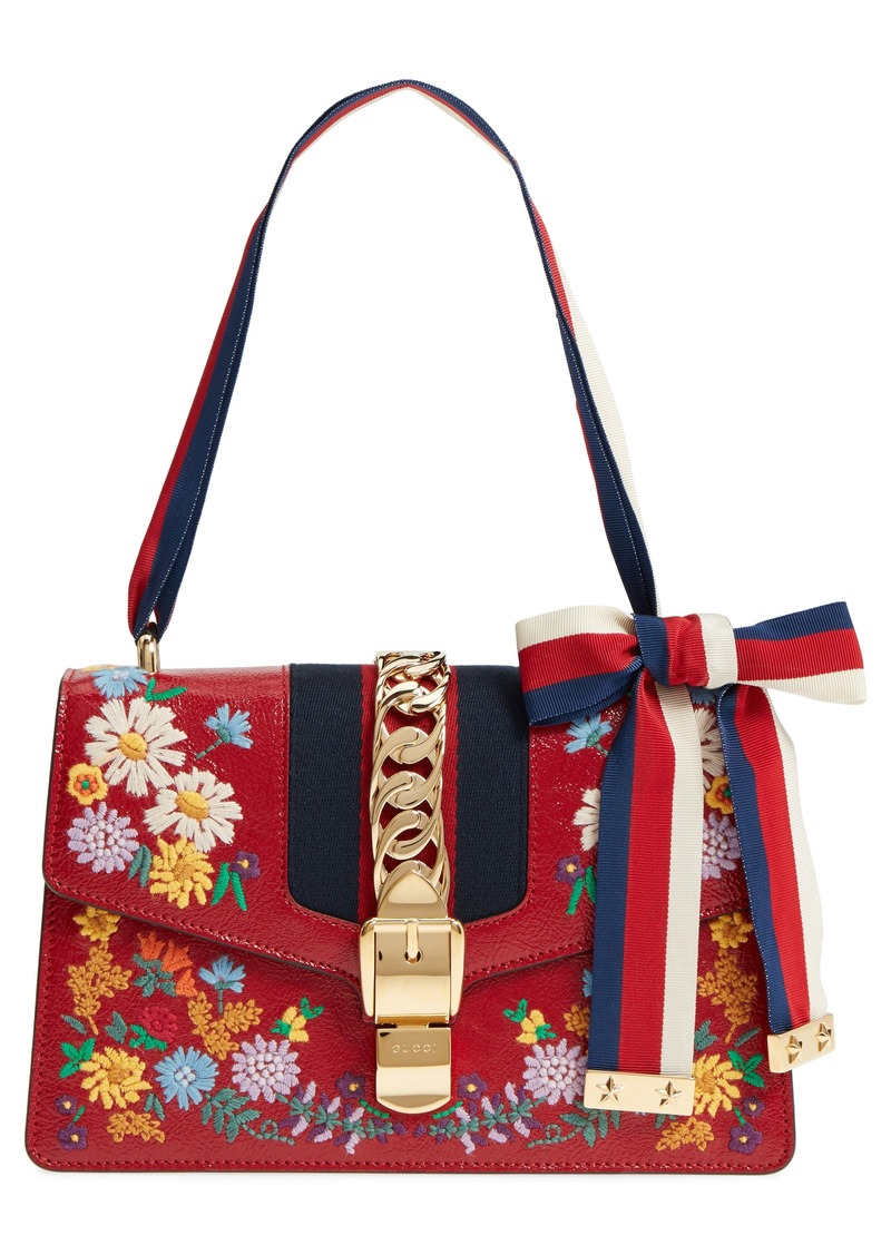 1f7afe82568 Gucci Small Sylvie Floral Embroidered Leather Top Handle Shoulder Bag