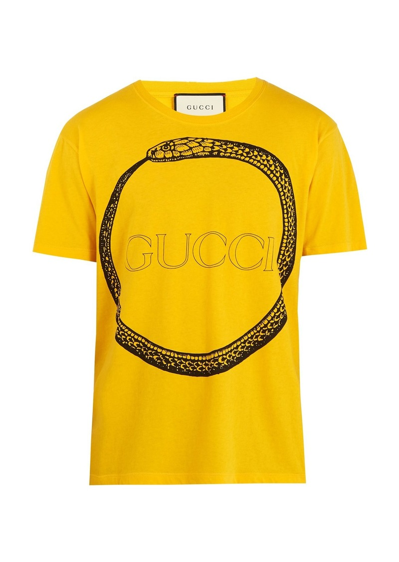 b77a0dd34 Gucci Gucci Snake and logo-print cotton T-shirt | T Shirts