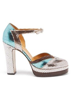 Gucci Snake-effect metallic leather pumps