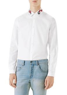 Gucci Snake Embroidered Collar Shirt