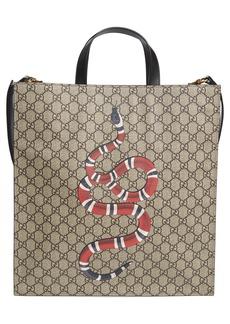 Gucci Snake Print Canvas Tote