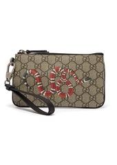 Gucci Snake-print GG Supreme pouch