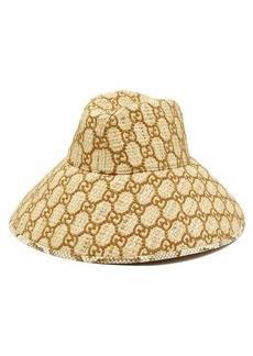 Gucci Snakeskin-trimmed GG-embroidered raffia hat