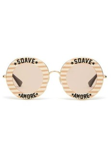 Gucci Soave Amore striped round acetate sunglasses