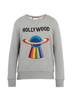 Gucci Spaceship-appliqué distressed cotton sweatshirt