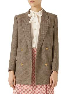 Gucci Spiritismo Houndstooth Linen Blazer