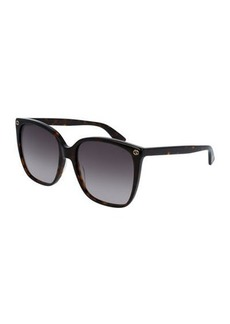 Gucci Square Acetate Sunglasses w/ Interlocking G Detail