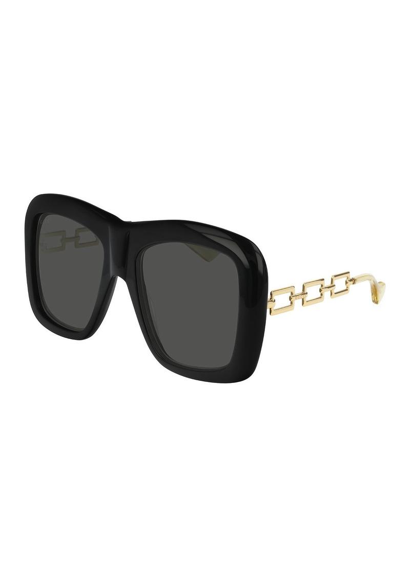 Gucci Square Acetate Sunglasses w/ Metal Chain Arms