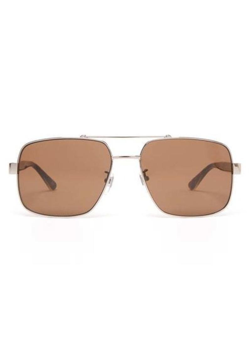 Gucci Square aviator metal sunglasses