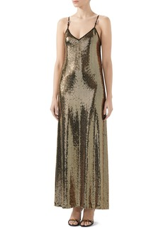Gucci Square-G Buckle Metallic Dot Jersey Gown