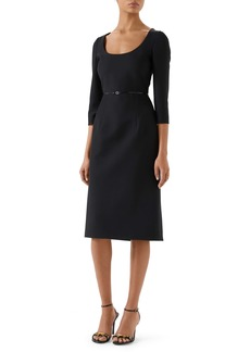 Gucci Square-G Buckle Silk & Wool Cady Crepe Dress