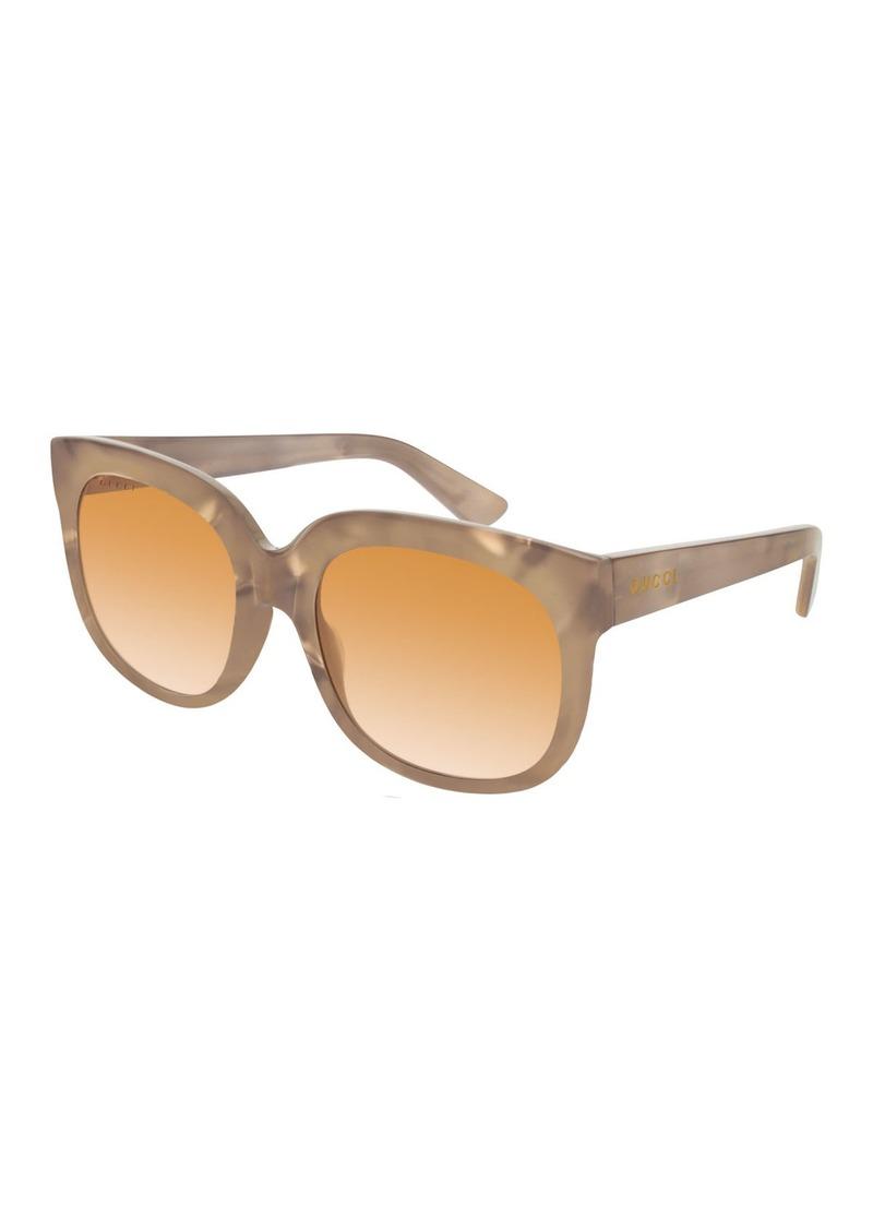 Gucci Square Marbleized Acetate Mirrored Sunglasses