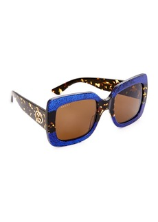 Gucci Square Urban Web Block Sunglasses