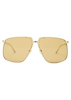 Gucci Squared-aviator metal sunglasses