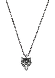 Gucci Sterling Silver Angry Forest Wolf Pendant Necklace, 18""