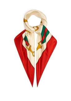 Gucci Stirrup and Web stripe-print silk scarf